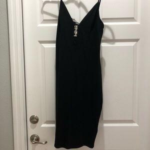 NWT Express Black Cotton Midi Dress